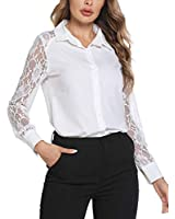 SoTeer Womens V Neck Lace Sleeve Flowy Business Casual Work Tunic Tops Shirts Button Down Blouse, White, XXL