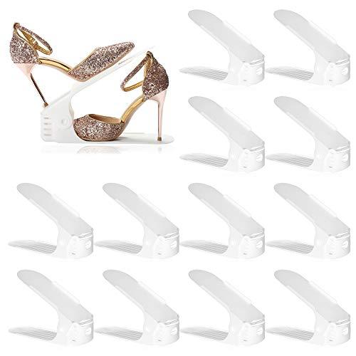 HOMDECO Organizador de ranuras para zapatos, zapatero ajustable de doble capa, 50% de ahorro de espacio para organización de clóset (blanco, 12)