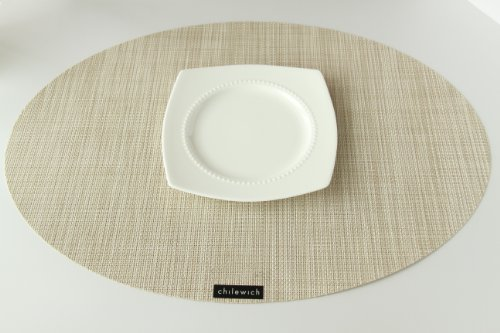 Chilewich Placemat Mini Basketweave Oval - Parchment