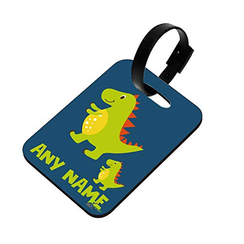PLT232 Personalised Any Name Dinosaur Novelty Funny Unique Designer Gift Glossy MDF Wooden Suitcase Luggage Tag