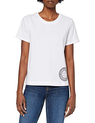 Calvin Klein Damen S/S Crew Neck Hemd, Weiß, XL