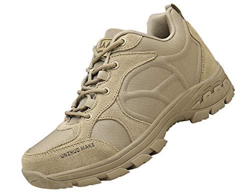 IYVW UNZHUOMAKE K23 Bottes Hautes De Travail Desert Boots Homme Cuir Nubuck Bottine A Lacets Chaussures Militaires LéGèRes Vintage Mode Pas Cher Boots Beige 45 EU