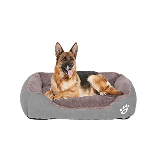 FRISTONE Dog Beds Medium Washable Pet Sofa Cat Bed Deluxe Soft Basket Cushion for Medium Small Dogs Orthopedic Fleece Thick Blanket Kennel XL Grey 32x24 in