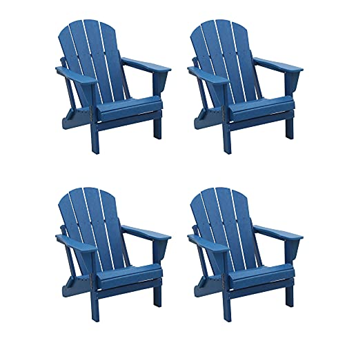 WestinTrends Folding Adirondack Chairs Furniture Outdoor Seating Weather Resistant for Patio, Balcony, Garden, Backyard, Deck, Lawn, Poolside, Porch Lounger(Set of 4), Blue