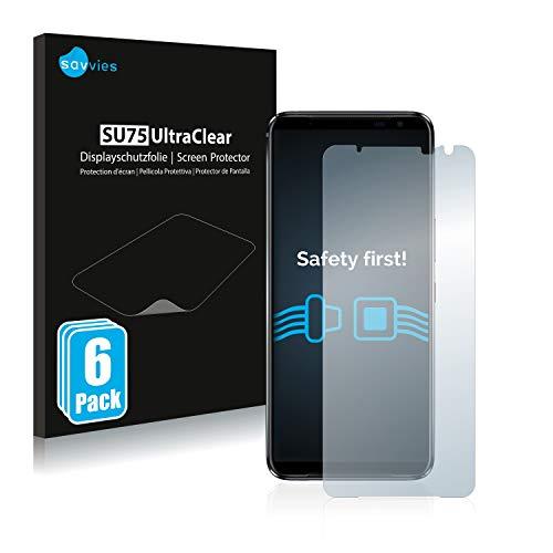 Savvies 6X Schutzfolie kompatibel mit Asus ROG Phone 3 ZS661KS Bildschirmschutz-Folie Ultra-transparent