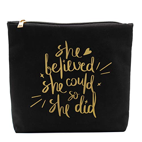 She Believed She Could So She Did-Inspirational Makeup Bag,Gift for Boss Lady Strong Female Gifts Ideas Woman Bosses Manager Boss Babe,Congratulations, Graduation, Promotion, Going Away, Job Change-BG