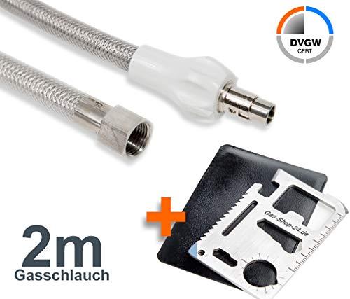 2 m Allgas Edelstahlschlauch (geeignet für Flüssig- / Erdgas) - f. Gasherd, Gaskocher, Gaskochmulde Kocher Gas Steckschlauch Gassteckdose) mit Multifunktionswerkzeug MW1