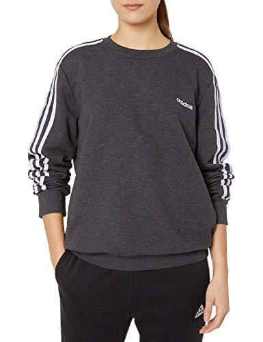 adidas Damen Essentials 3-Streifen Sweatshirt, Damen, Pullover, W E 3s Sweat Ft, Dunkelgrau/Violett, X-Small