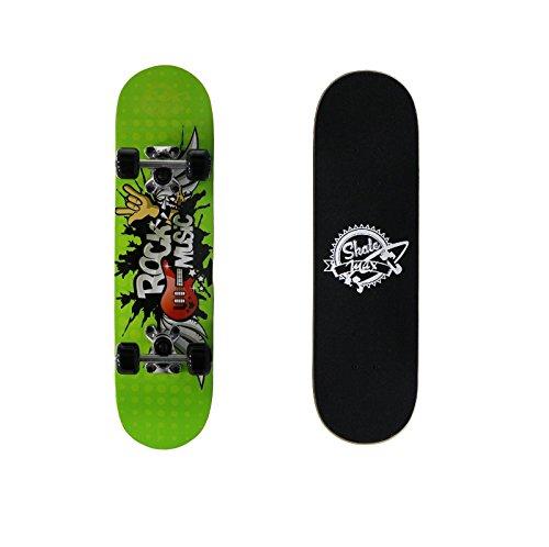 Skateboard Junior Completo di Ruote Rock Music Skate Skatemax Verde Bambini