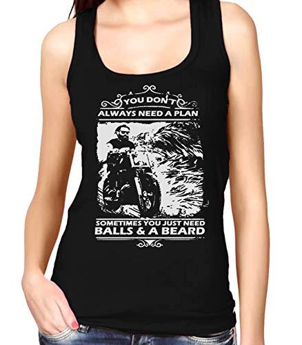 Desconocido 35mm - Camiseta Mujer Tirantes Motero - Motociclista- Balls & a Beard - Negro - Talla XXL