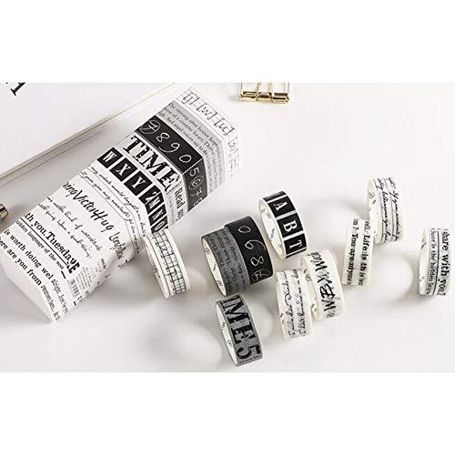 WGCJD Cinta De Color Washi Tapes 10 Unids/Set Washi Tape Inglés Letra/Número/Cuadrícula Cinta Adhesiva Kawaii Washi Tape Vintage Pegatinas Papelería Scrapbooking Escuela