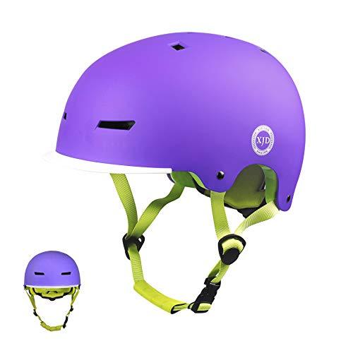XJD Casco Bicicleta para Niños Ajustable con Certificación CE Resistencia al Impacto con Visera Extraíble para Ciclismo Monopatín Patines sobre Rueda para niños de 3 a 13 años (Purple, S)