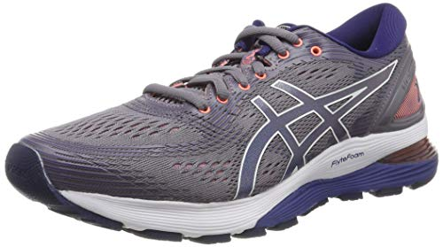 Asics Gel-Nimbus 21, Zapatillas de Running para Mujer, Gris (Lavender Grey/Dive Blue 500), 37.5 EU