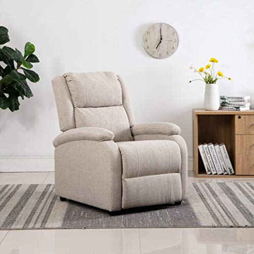 FAMIROSA Sillón reclinable para TV de Tela Color crema-8693