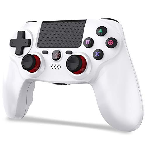 「2021 FPS改良」JOYSKY PS4 コントローラー ワイヤレス 最新バージョン Bluetooth リンク遅延なし 600mAh ジャイロセンサー機能 イヤホンジャック ゲームパット 搭載 高耐久ボタン 二重振動 日本語取扱説明書 PS3 コントローラー(ホワイト)
