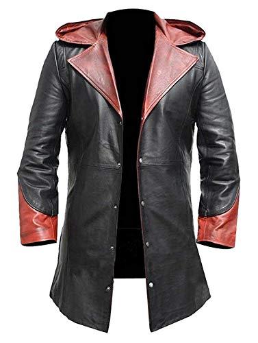 LP-FACON DMC Devil May Cry Dante Slayer Cosplay Kostüm mit Kapuze Trenchcoat Leder Schwarz Gr. Medium, Schwarz