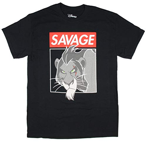 Disney El Rey León Scar Savage Villanos Hombres Adultos con Licencia del T-Camisa (LG)