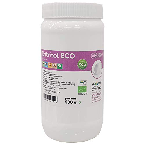Eritritol BIO en polvo 500 gr Edulcorante sin calorías, para diabéticos, 100% Ecológico y VEGANO. Ideal para Repostería y Dietas.