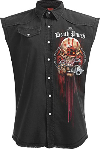 Spiral Mens - 5FDP - Assassin - Licensed Band Stone Washed Worker - XXL,Black
