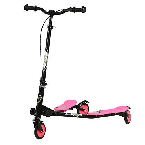 Uenjoy Kinderscooter Kinder schwingen Roller 3 Räder Faltbarer schwingen Roller Y Wiggle Scooter 3-stufiger, höhenverstellbarer für Jungen ab 5 Jahren Mädchen und Erwachsene-Weiß-Pink
