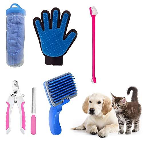Kiki N Pooch 5 in 1 Dog Grooming Kit - Pack of Nail Cutter Filer Glove | Toothbrush | Auto Slicker | Towel