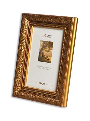 Victor - Cornice anticata 'Rubens', dimensioni dei listelli: 30 x 20 mm, vero vetro, in stile barocco, in diverse dimensioni e colori, Plastica, Noce oro., 15x21