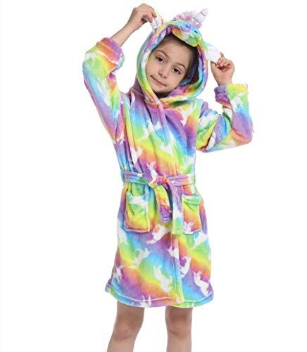 Z-YQL Bademantel für Kinder, Mädchen, mit Kapuze, aus Fleece, kuschelig, Flanell, weich, bunt Gr. 8-9 Jahre, Helles Regenbogen Himmel Pferd