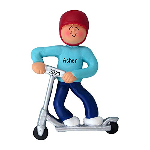 Personalized Kid Riding Scooter Christmas Tree Ornament 2021 - Young Child Boy Helmet Push Kick Footboard Active Cruise Fun Vehicle Hobby Holiday Grand-Son 2 3 4 Wheel - Free Customization (Male)