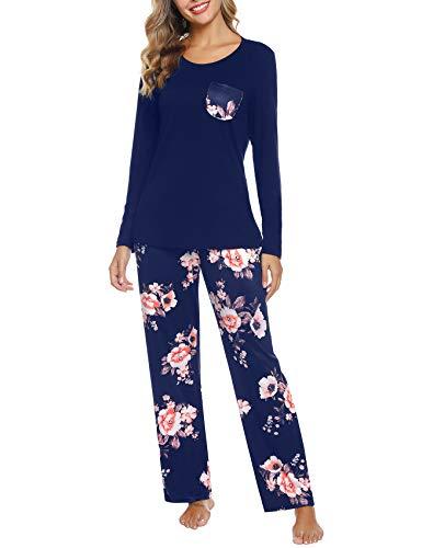Aibrou Damen Zweiteiliger Schlafanzug, Pyjama Set Weich Nachtwäsche Hausanzug Sleepwear Langarm Rundhals und Gedruckt Schlafanzug Hose
