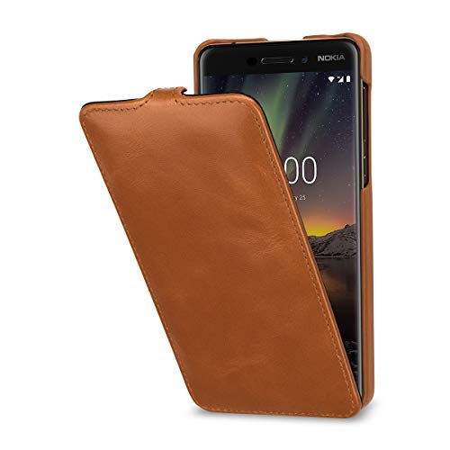 StilGut UltraSlim Lederhülle kompatibel mit Nokia 6.1. Dünnes Flip-Hülle vertikal klappbar aus Echtleder, Cognac