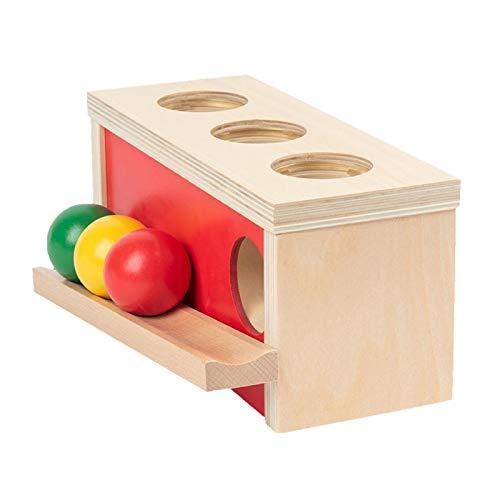 Sharplace Montessori Objekt Dauerhaftigkeit Box Säugling Entwicklung Ball Drop Spielzeug für Babys 6-12 Monate Alt bis zu 1 Jahr alte Holz Bildung Lernen
