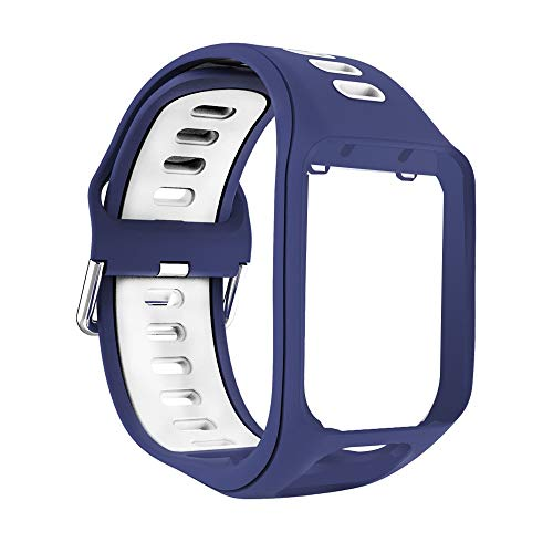 Yivibe Silicone Band Watch Strap Wristband Smart Watch Bracelet Replacement for Tomtom Spark Runner 2 3 Adventurer Golfer 2 Accessories ( Color : Blue White )