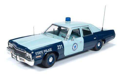 Auto World - Amm1023 - Véhicule Miniature - Modèle À L'échelle - Dodge Monaco - Police Mass - 1974 - Echelle 1/18