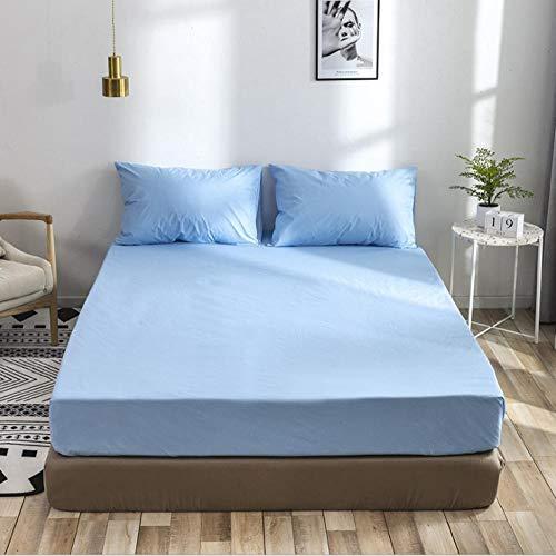 XLMHZP Sábana Ajustable 100% algodón Sábanas de Hotel Funda de colchón Antideslizante Funda de Cama de Color sólido Colchas Opcionales Multicolores-Blue_180×200+35cm (1pcs)