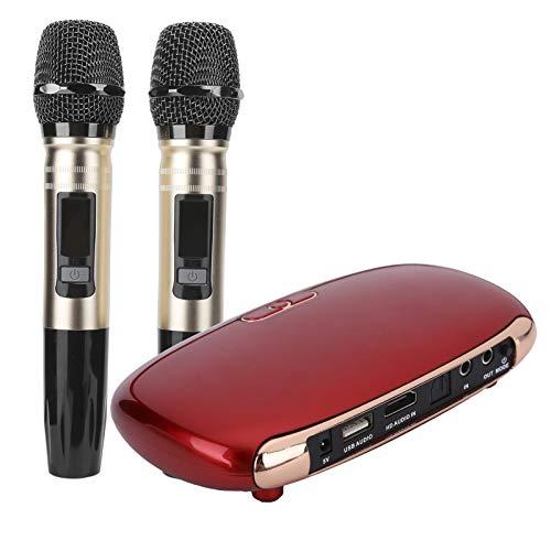 Micrófono Inalámbrico de Karaoke Bluetooth,Máquina de Karaoke Recargable con Dos micrófonos K8 de 100‑240 V,para TV/teléfono móvil en casa(Rojo)
