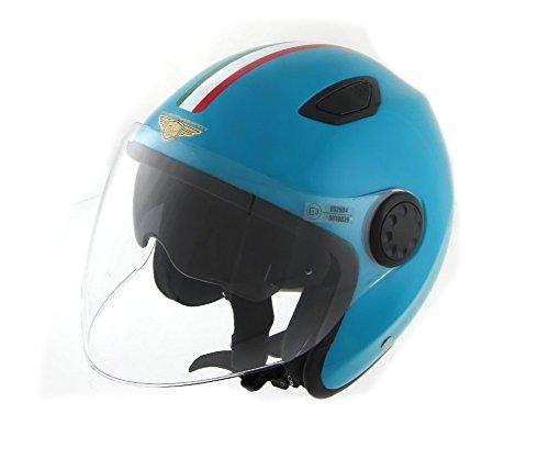 Pro-Ject - Casque de moto et scooter jet Flash Evo Old Italy en fibre, homologation ECE 22.05 E3, avec double visière S2 -56/57CM bleu