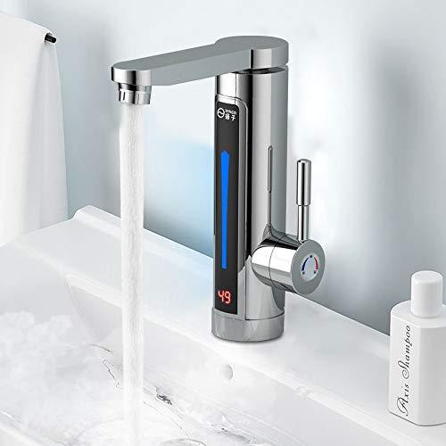 3300W Elektrische Wasserhahn Sofort Warm Armatur für Bad/Küche Durchlauferhitzer mit digitale Wassertemperaturanzeige 360° Drehbar