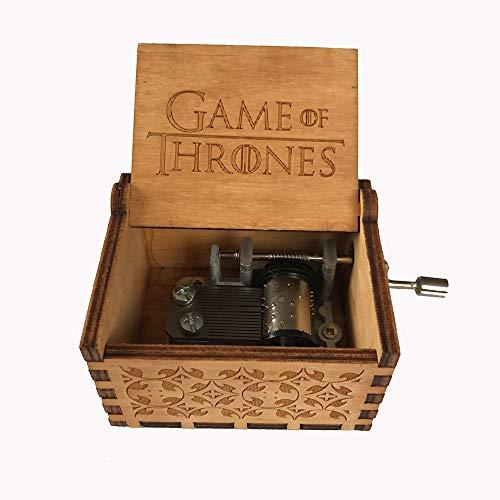 MINGZE Manovella in Legno Music Box meccanismo, varietà di Stili Carillon Creativo Personalizable, Best Gift for Kids Friends (Game of Thrones(Wood Color))