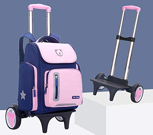 ZZLHHD Mochilas Escolares con Ruedas Primaria,Trolley de Ruedas para niños,Bolsa de Libros de Escalada Ligera, Bolsa con Ruedas para niños-Pink_Large Wheel