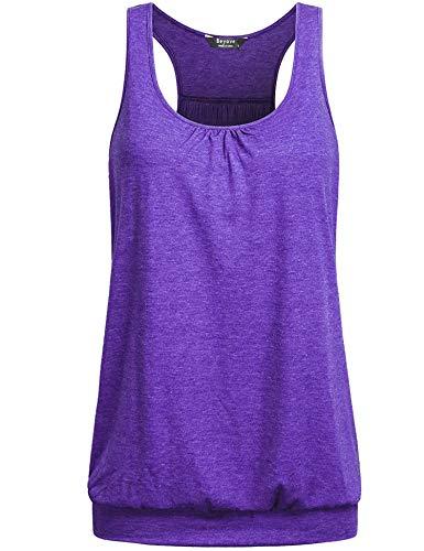 Beyove Women's Backless Tank Top Workout Shirts Open Back Sports Tank Tops Flowy Workout Tanks Purple