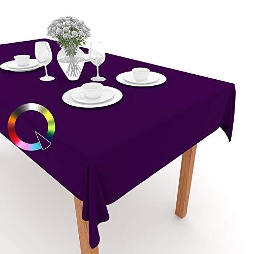 Rollmayer Tischdecke Tischtuch Tischläufer Tischwäsche Gastronomie Kollektion Vivid (Violett 18, 120x160cm) Uni einfarbig pflegeleicht waschbar 40 Farben