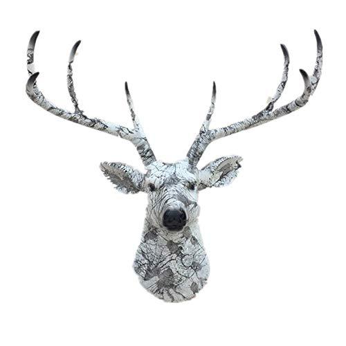 Ybzx Escultura de Cabeza de Ciervo para Colgar en la Pared, Escultura de Busto de Piel de Ante, patrón de mármol Decorativo Tridimensional de Pared
