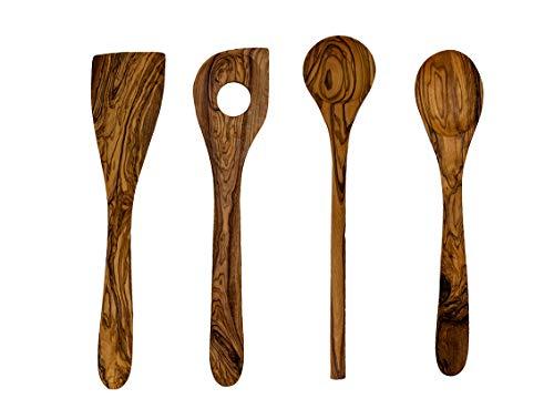 Benera - Set di utensili da cucina in vero legno d'ulivo, 4 pezzi, composto da due diversi cucchiai, un cucchiaio da risotto e una spatola.