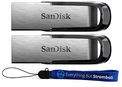 SanDisk Ultra Flair USB (2 Pack) 3.0 32GB Flash Drive High Performance SDCZ73-032G-G46 - with (1) Everything But Stromboli (tm) Lanyard