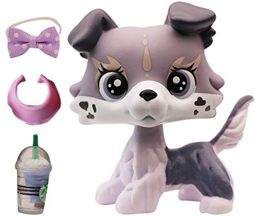 lpsloverqa Elk Collie Grey with LPS Accessories Bow Vest Coffee Drink Dog Puppy Figures Collection Boys Girls Kids Gift Set (Grey)