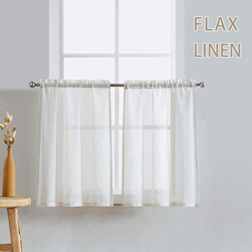 Fmfunctex Natural Sheer Kitchen Curtains 24' Tier Curtain Set for Windows Flax Linen Blend Small Café Curtain Panels for Laundry Room Tiers 28' w x 2-Pack