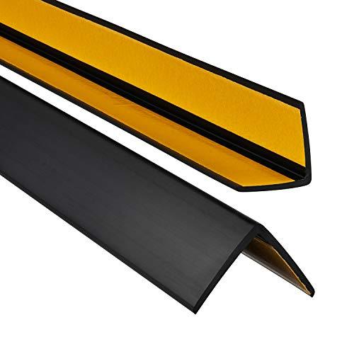 ProfiPVC Perfil angular de PVC 35x35mm - ángulo pvc, autoadhesivo listón de plástico, protección de esquinas y bordes, esquina de gomma para cantos - cantonera protector, Negro, 200cm