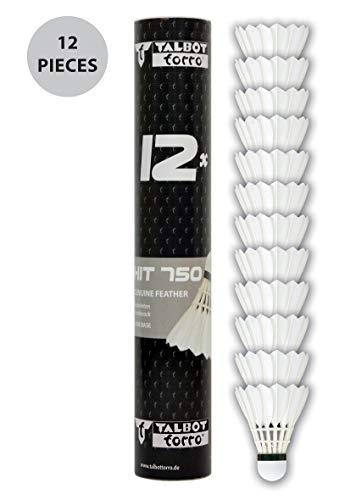 Talbot Torro Badminton Ball Hit 750, 12er Dose, Farbe: Weiß, Geschwindigkeit: Speed 77, Premium-Naturfederball, für Training und Freizeit, 479086