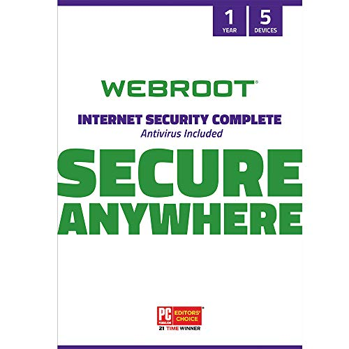 Webroot Internet Security Complete 2021 | Antivirus Software for 5 Device | 1 Year | PC/Mac CD with Keycard | Includes Android, IOS, Password Manager, System Optimizer and Cloud Backup