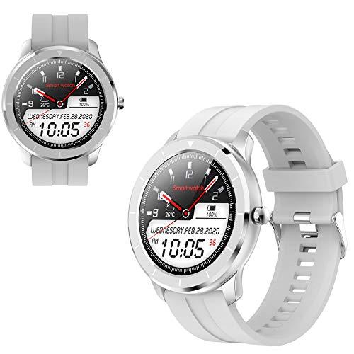 WEINANA 1,28 Farbbildschirm Smartwatch Starke Akkulaufzeit Profisport Armband Herzfrequenz Schlafüberwachung Multifunktionale Modeuhr(Color:Weiß)